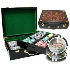 500 las vegas casino poker chip set in a humidor style case
