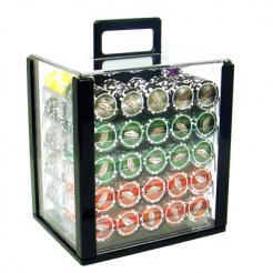 1000 las vegas casino poker chip set in an acrylic chip carrier with 10 chip racks
