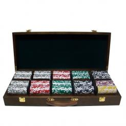 500 Las Vegas Casino Poker Chip Set in a Walnut Case with 5 removable chip trays
