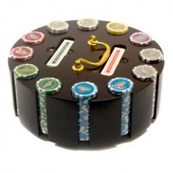 300 las vegas casino poker chip set in a wooden chip carousel