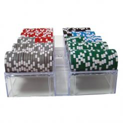 200 las vegas casino poker chip set in an acrylic chip tray