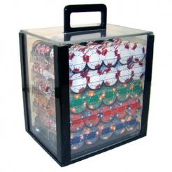 1000 Triple Crown Poker Chip Set in an Acrylic Chip Carrier with 10 chip trays