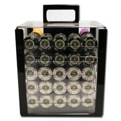 1000 Gold Rush Poker Chip Set in an acrylic chip carrier with 10 chip trays