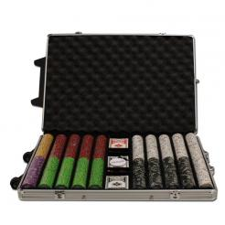 1000 Gold Rush Poker Chip Set in a rolling aluminum case