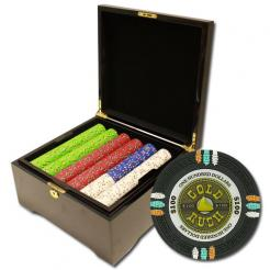 750 Gold Rush Poker Chip Set in a mahogany case