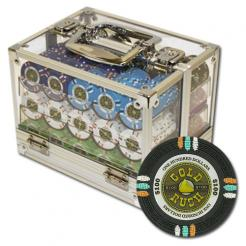 600 Gold Rush Poker Chip Set in an acrylic chip carrier with 6 chip trays