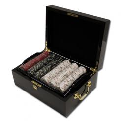 500 Gold Rush Poker Chip Set in a mahogany case