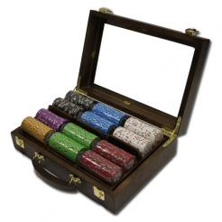 300 Gold Rush Poker Chip Set in an walnut case with 3 removable chip trays