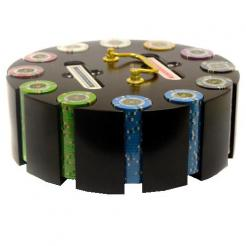 300 Gold Rush Poker Chip Set in a chip carousel
