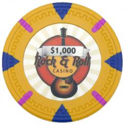 bundle of 25 yellow Rock & Roll poker chips