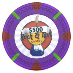 bundle of 25 purple Rock & Roll poker chips