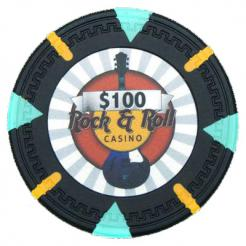 bundle of 25 black Rock & Roll poker chips
