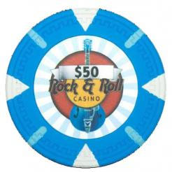 bundle of 25 light blue Rock & Roll poker chips