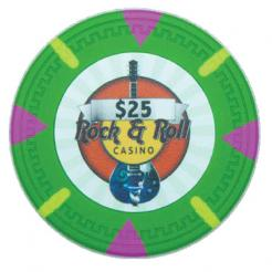 bundle of 25 green Rock & Roll poker chips