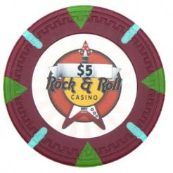 bundle of 25 red Rock & Roll poker chips