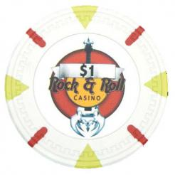 bundle of 25 white Rock & Roll poker chips