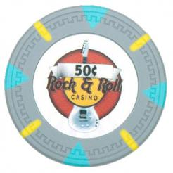 bundle of 25 gray Rock & Roll poker chips
