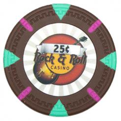 bundle of 25 brown Rock & Roll poker chips