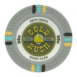 bundle of 25 gray gold rush poker chips