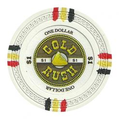 bundle of 25 white gold rush poker chips