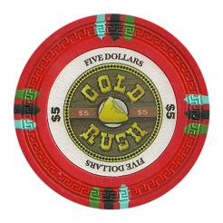 bundle of 25 red gold rush poker chips