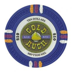 bundle of 25 blue gold rush poker chips