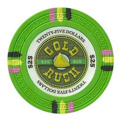 bundle of 25 green gold rush poker chips
