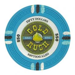 bundle of 25 light blue gold rush poker chips