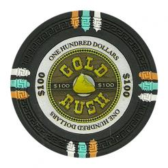 bundle of 25 black gold rush poker chips