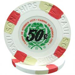 25 White Casino De Isthmus Poker Chips