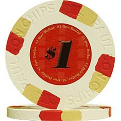 25 White Tophat & Cane Poker Chips