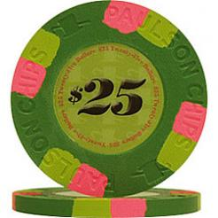 25 Green Tophat & Cane Poker Chips