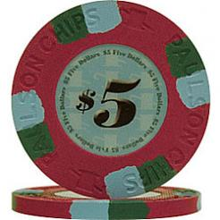 25 Red Tophat & Cane Poker Chips