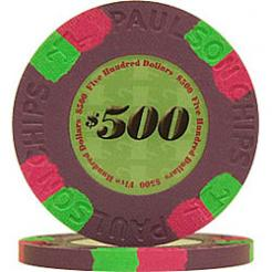 25 Purple Tophat & Cane Poker Chips