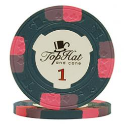 bundle of 25 blue world tophat poker chips