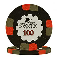 bundle of 25 black world tophat poker chips