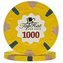 bundle of 25 yellow world tophat poker chips