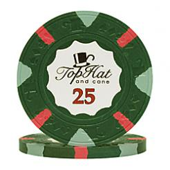 bundle of 25 green world tophat poker chips