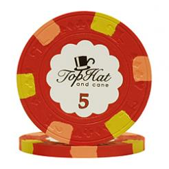 bundle of 25 red world tophat poker chips