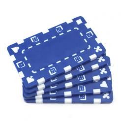 5 blue striped dice poker chip plaques with no values