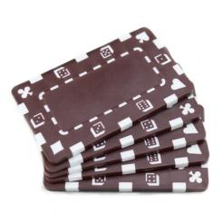 5 brown striped dice poker chip plaques
