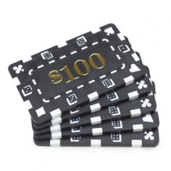 5 black striped dice $100 poker chip plaques