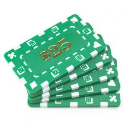5 green striped dice $25 poker chip plaques