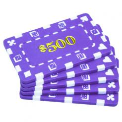 5 purple striped dice $500 poker chip plaques