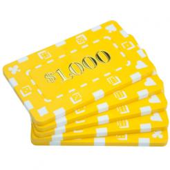 5 yellow striped dice $1000 poker chip plaques