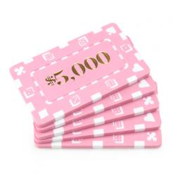 5 pink striped dice $5000 poker chip plaques