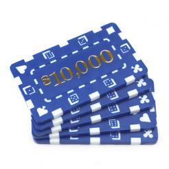 5 blue striped dice $10,000 poker chip plaques