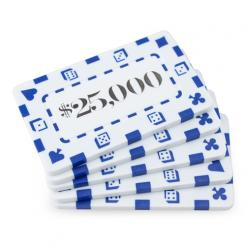5 white striped dice $25,000 poker chip plaques