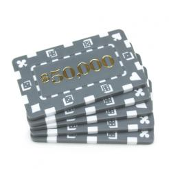 5 gray striped dice $50,000 poker chip plaques