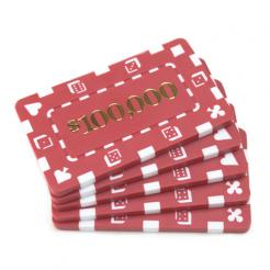 5 red striped dice $100,000 poker chip plaques